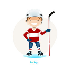 Young hockey player isolated on white background vector