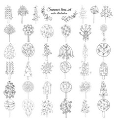 hand drawn monochrome floral elements set vector image vector image
