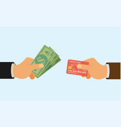 hands holding credit card and money bills flat vector image vector image