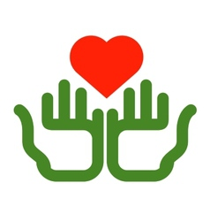 heart and hands logo design template Ecology or vector image vector image