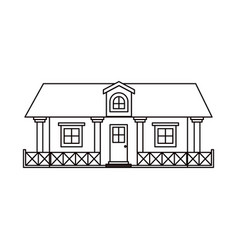 Monochrome silhouette of country house with vector