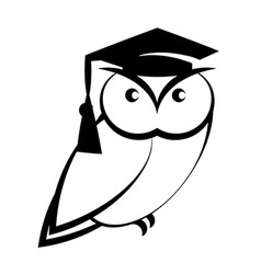 Owl with college hat vector image
