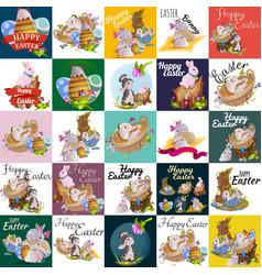 set of easter egg hunt bunny basket on green grass vector image