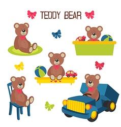 set of isolated teddy bear vector image