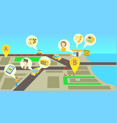 taxi services horizontal banner cartoon style vector image