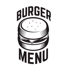 burger emblem design element for logo label vector image