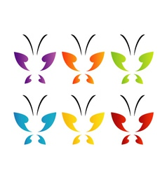 Butterfly logo in rainbow colors vector image vector image