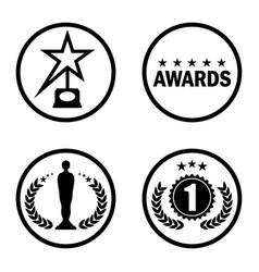 cinema award icons black vector image vector image