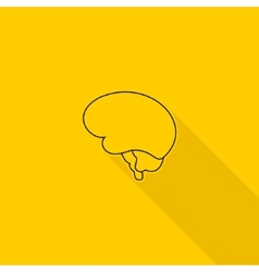 Flat long shadow brain icon vector image