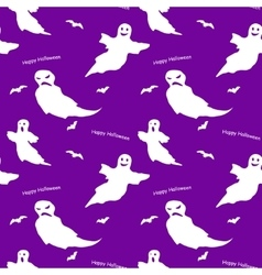 Halloween flat funny ghost seamless pattern vector image vector image