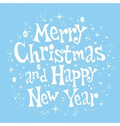 Merry Christmas and Happy New Year lettering retro vector image