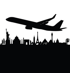 plane above the city black vector image vector image