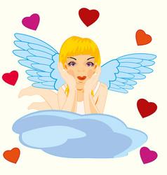 girl angel on cloud vector image