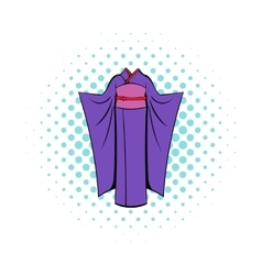 Japanese kimono icon in comics style vector image vector image