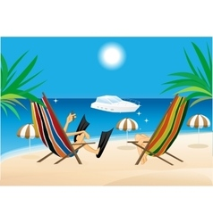 man and woman sitting in the lounge chairs vector image vector image