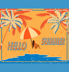 retro poster with palm trees sea and a girl under vector image vector image