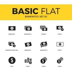 Basic set of banknote icons vector
