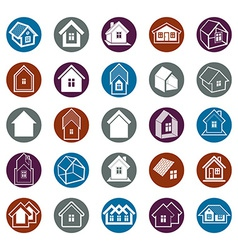 Different houses icons vector image vector image