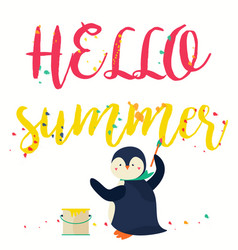 hello summer banner with text and penguin vector image