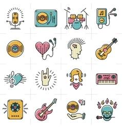 Line art music icons set Rock punk jazz symbols vector image vector image