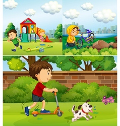 People doing different things in the park vector image vector image