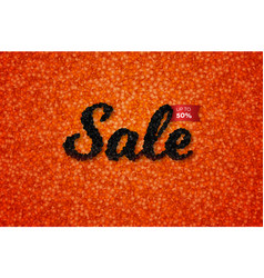 Sale banner with realistic black caviar over red vector