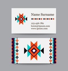 set of geometric tribal colorful business cards - vector image