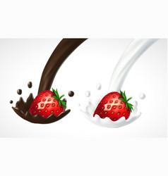 Strawberry with milk and chocolate splash vector