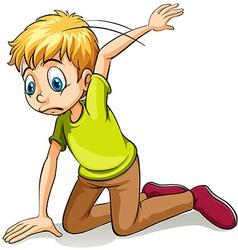 A boy wearing a green shirt vector