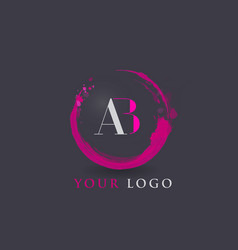 Ab letter logo circular purple splash brush vector