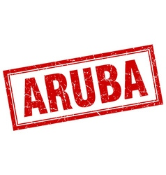 Aruba red square grunge stamp on white vector