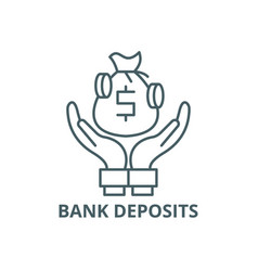 bank deposits line icon bank deposits vector image