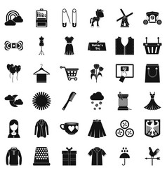 Beautiful dress icons set simple style vector