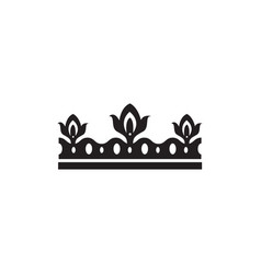 black ornate crown silhouette isolated on white vector image