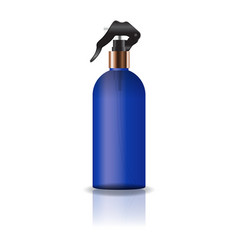 blank blue cosmetic round bottle with spray head vector image