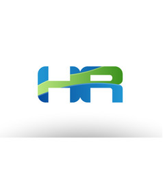 blue green hr h r alphabet letter logo vector image
