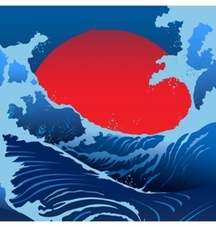 Blue Waves And Red Sun In The Japanese Style vector