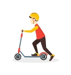 Boy kid rides on a scooter vector