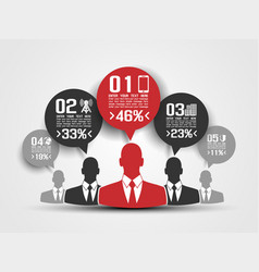 businessman concept of five option red vector image