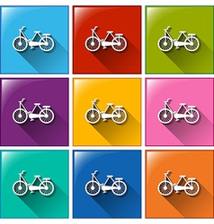 Buttons with bicycles vector