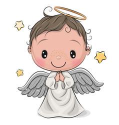 Cartoon christmas angel boy isolated on white vector