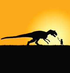 Child playing with dinosaur in nature silhouette vector