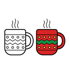 christmas hot beverage icon on white background vector image