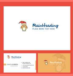 christmas penguin logo design with tagline front vector image