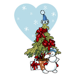 christmas tree snowman and gifts vector image