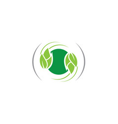 circle leaf eco logo vector image