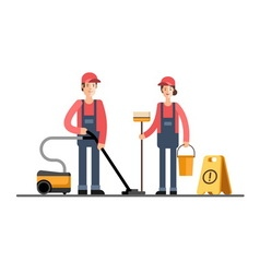 Cleaning company service Cleaner woman and man vector