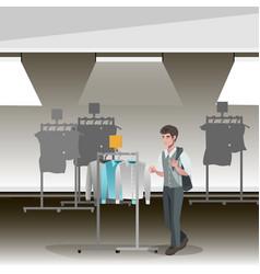 Clothing store boutique indoor of men s cloths vector