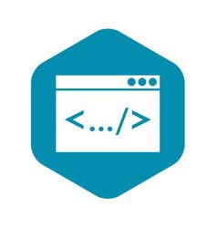 code window icon simple style vector image