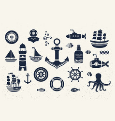 Collection of vintage marine elements vector